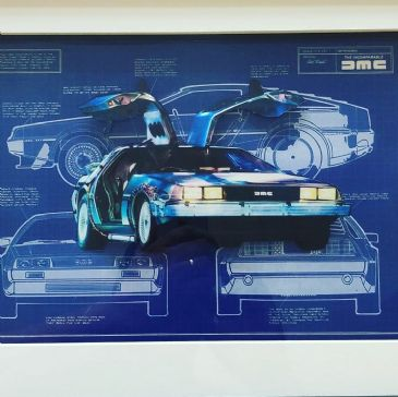 Delorean Back to the Future Blue Prints 3D Diorama Shadow Box